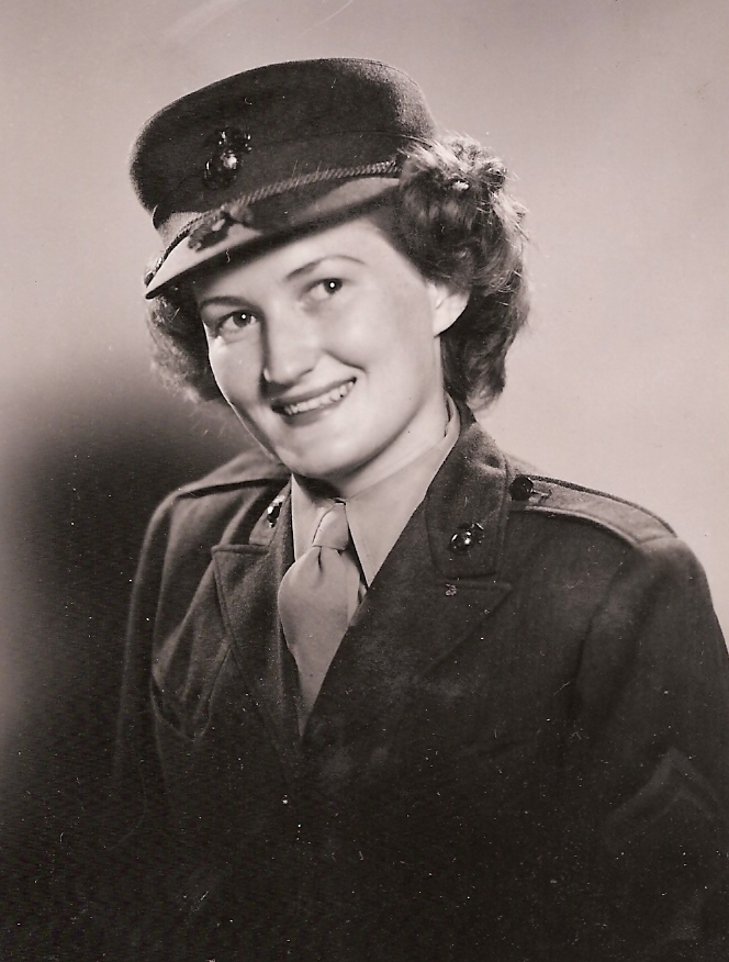 Patricia Young headshot, smiling in Marine Corps uniform