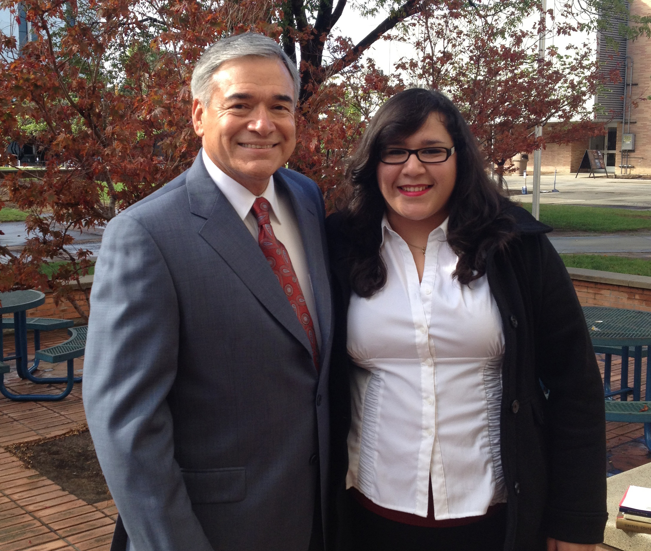 Natalie Navar and Joe Ocamp pose for LULAC project