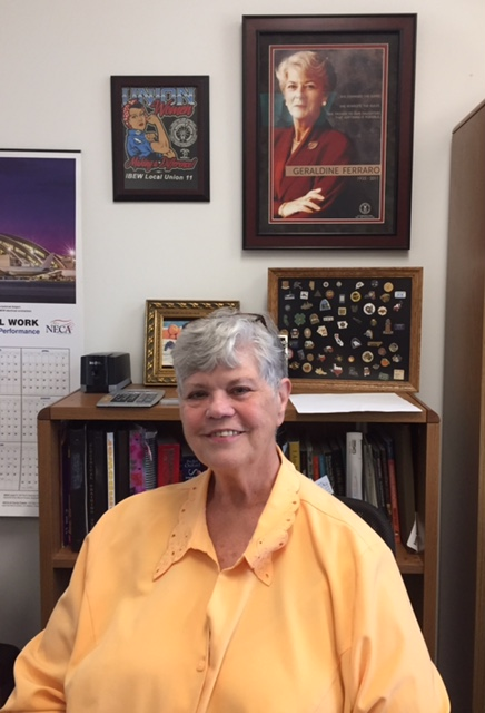 Jane Templin sits in her office at the IBEW local 11