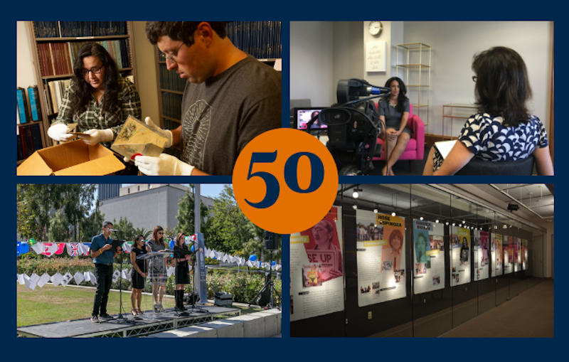 50th Anniversary banner featuring oral history interview, performance, interns, exhibit