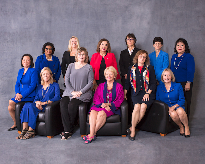 Twelve CSU Women Presidents seated and standing against gray backdrop