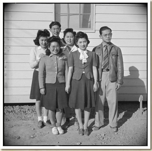 George Fujii standing with other internees at the Poston, Arizona Japanese Internement Camp in January of 1943