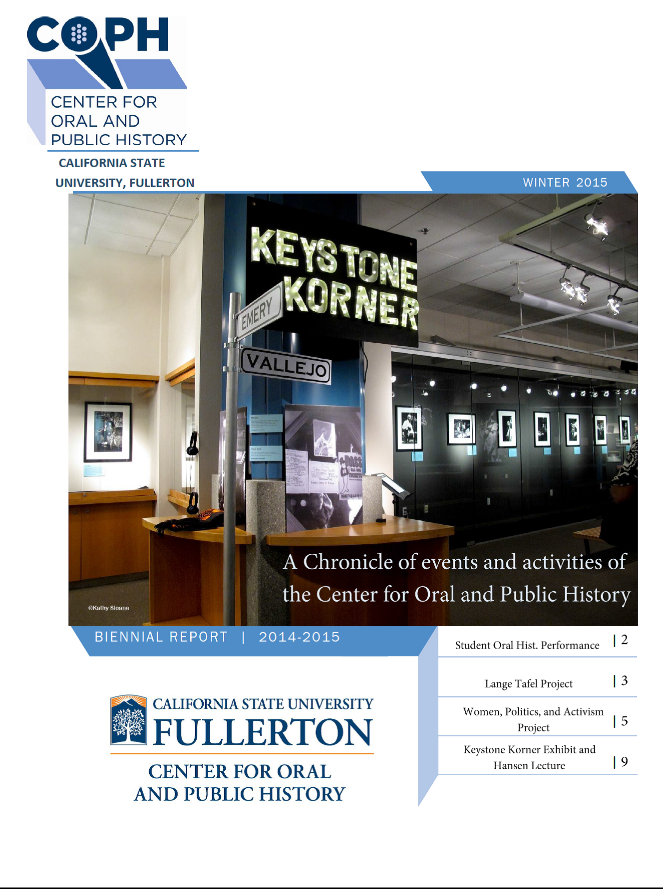 Winter 2015 biennial report cover with keystone korner exhibit featured