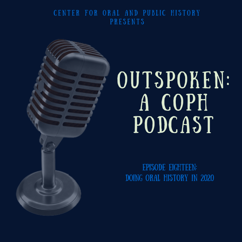 Episode 18 slide with text and illustration of microphone on navy blue background